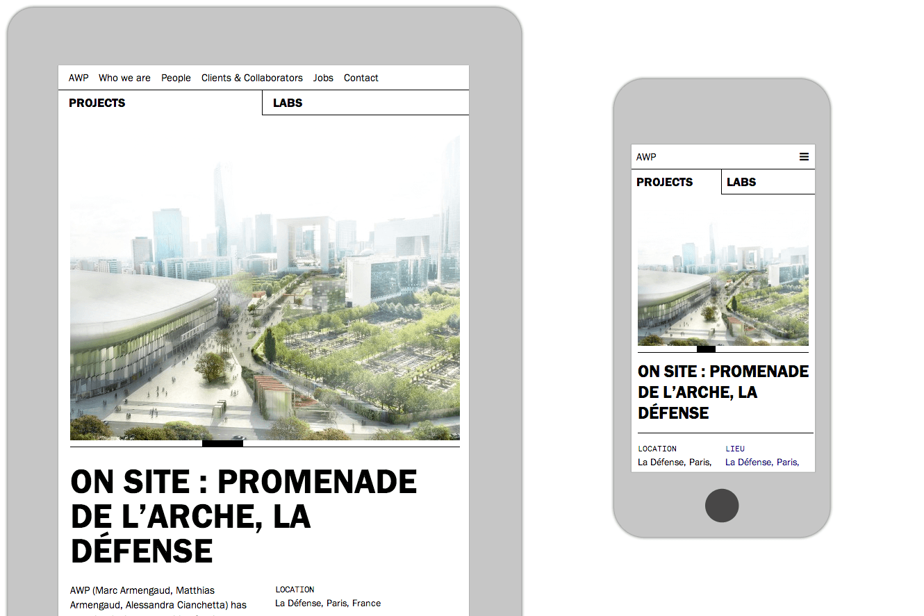 Tablet And Iphone View Of AWP.fr Website Design By &&& Creative