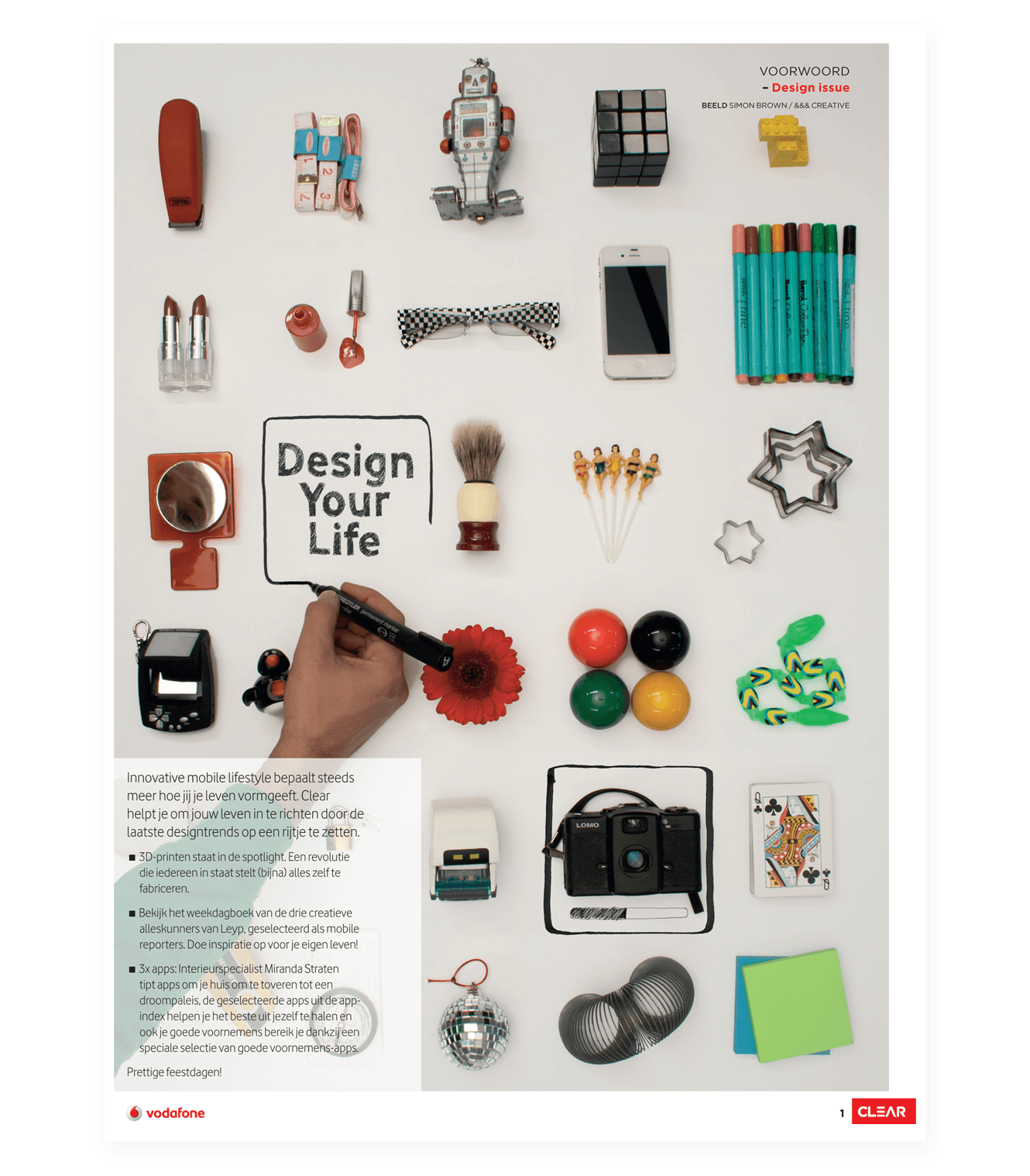 Illustration For Vodafone's Customer Magazine, Clear, In The Netherlands Design By &&& Creative