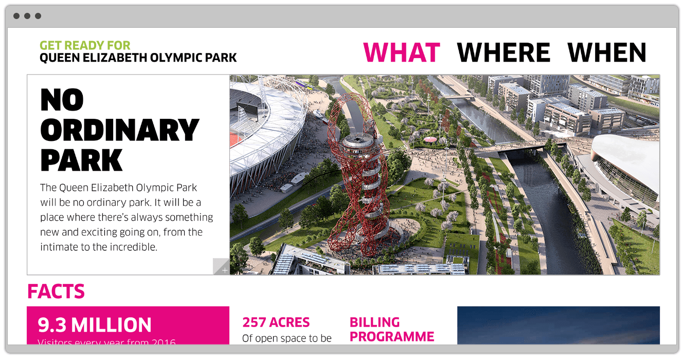 Queen Elizabeth Olympic Park Website Design By &&& Creative