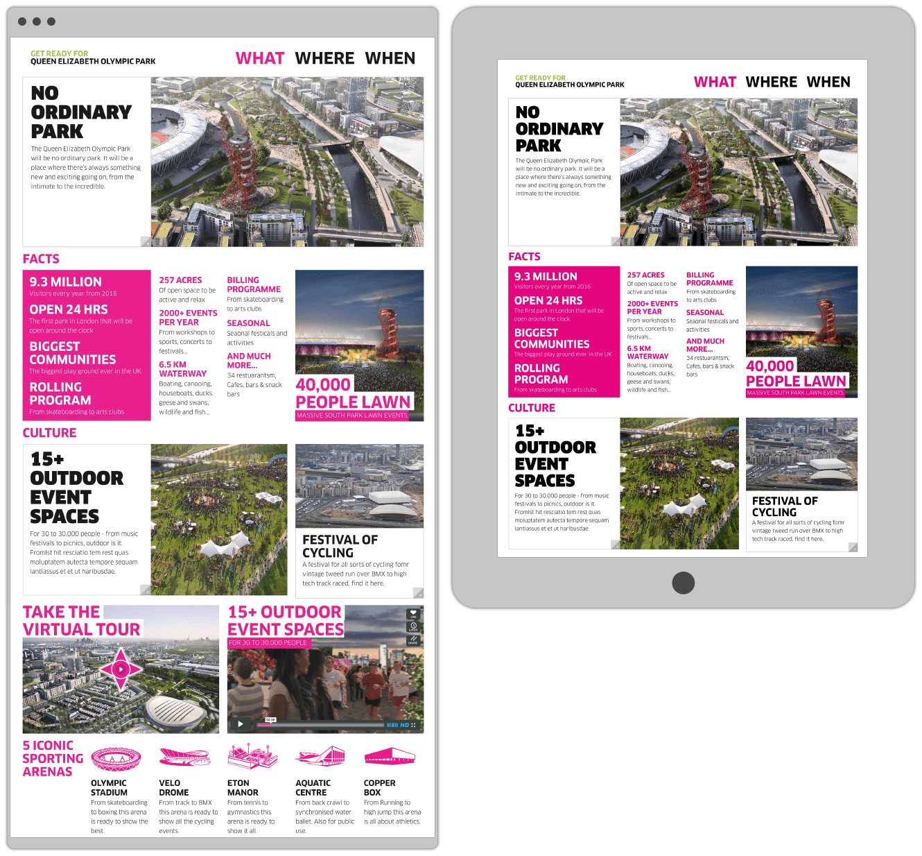 What Section Of Website Design For The Queen Elizabeth Olympic Park By &&& Creative