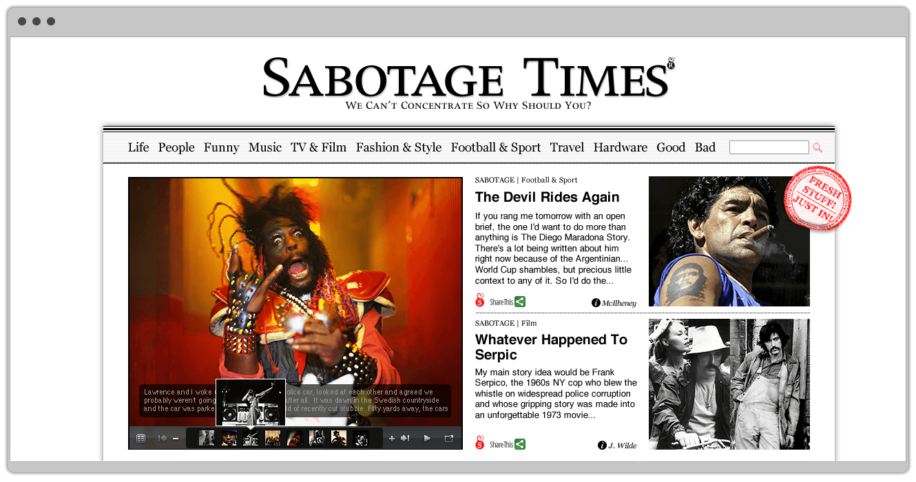Website Design For Sabotage Times By &&& Creative