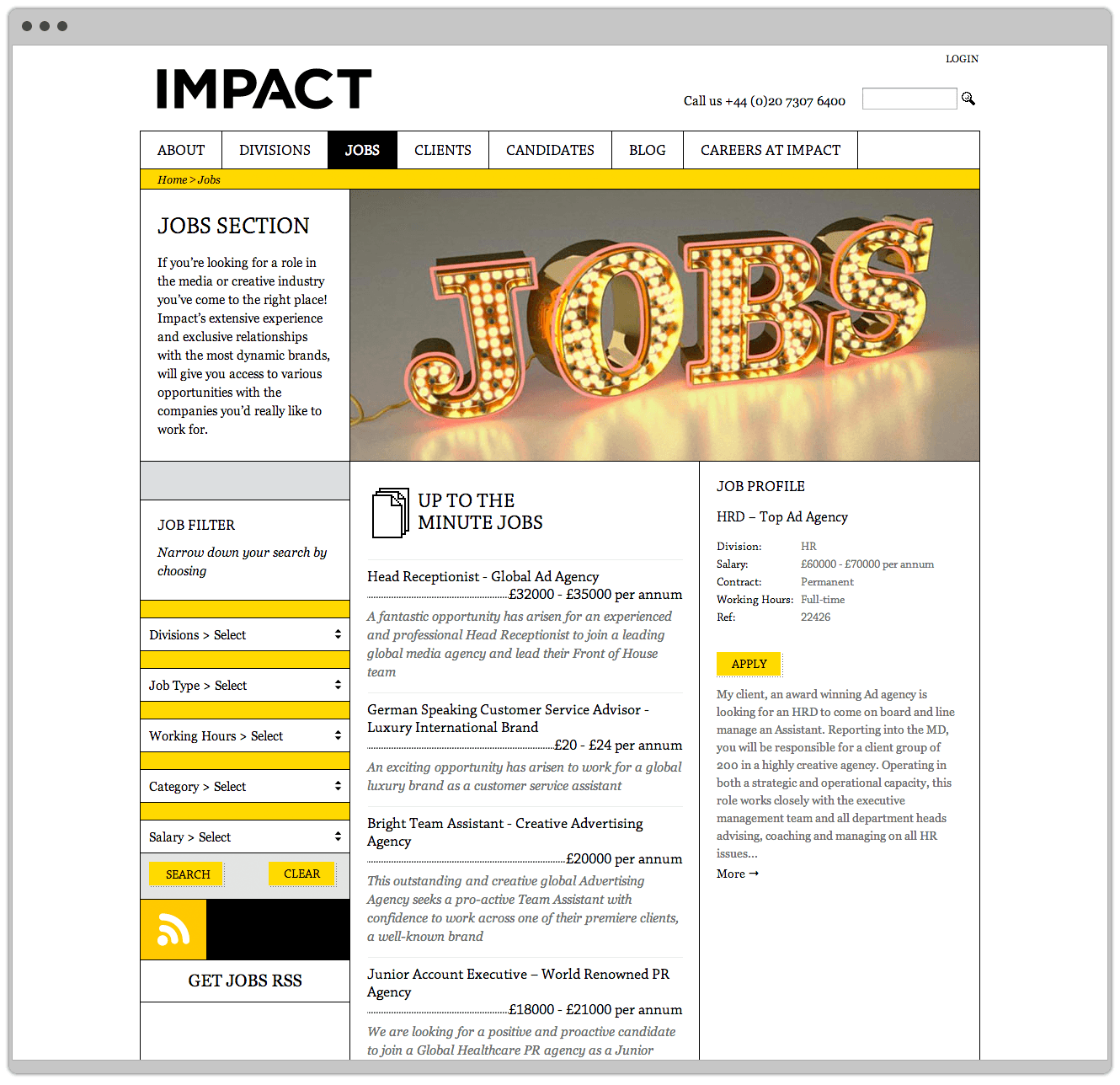 Job Listing On Recruitment Website For Www.impact London.com Designed By &&& Creative