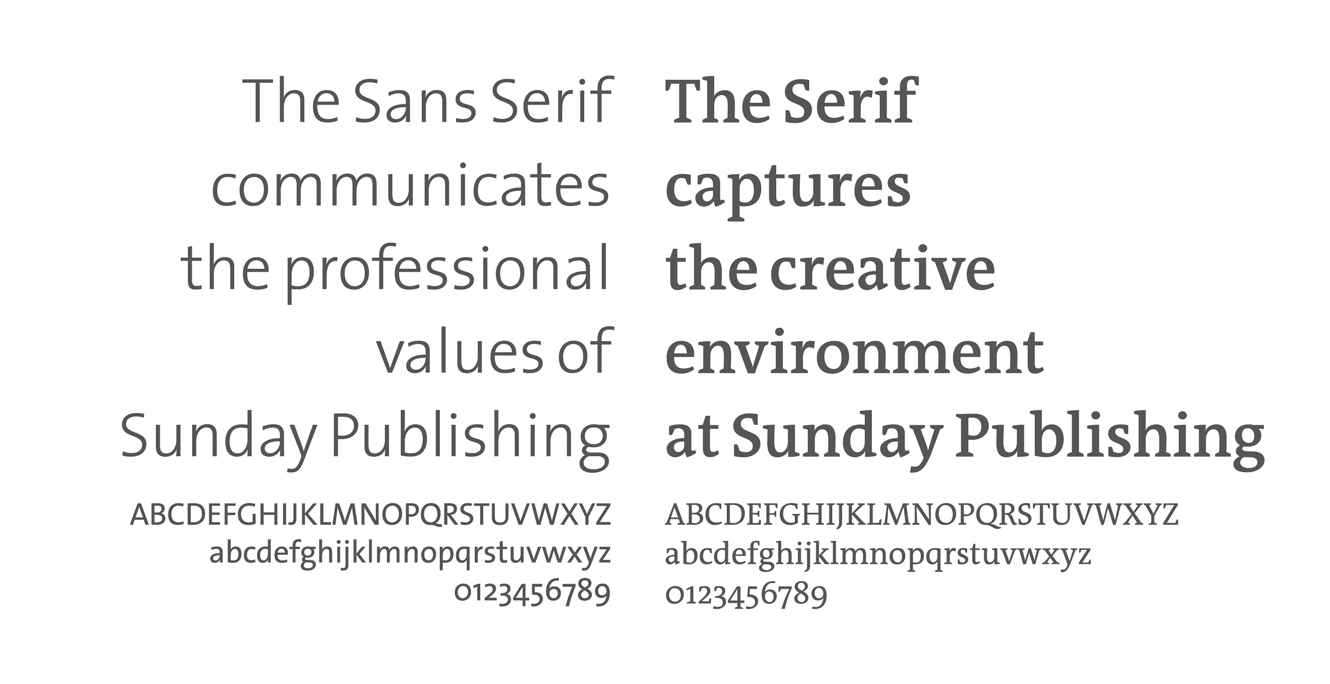 Type Choices For Brand Identity Sunday Publishing Ltd.