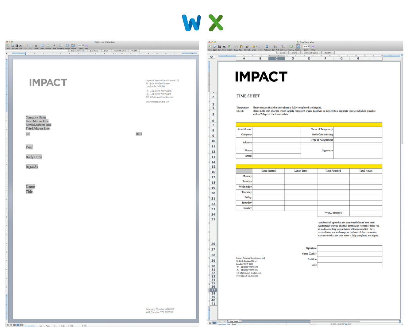 Microsoft Office Documents For Impact Creative Recruitment Ltd Designed By &&& Creative