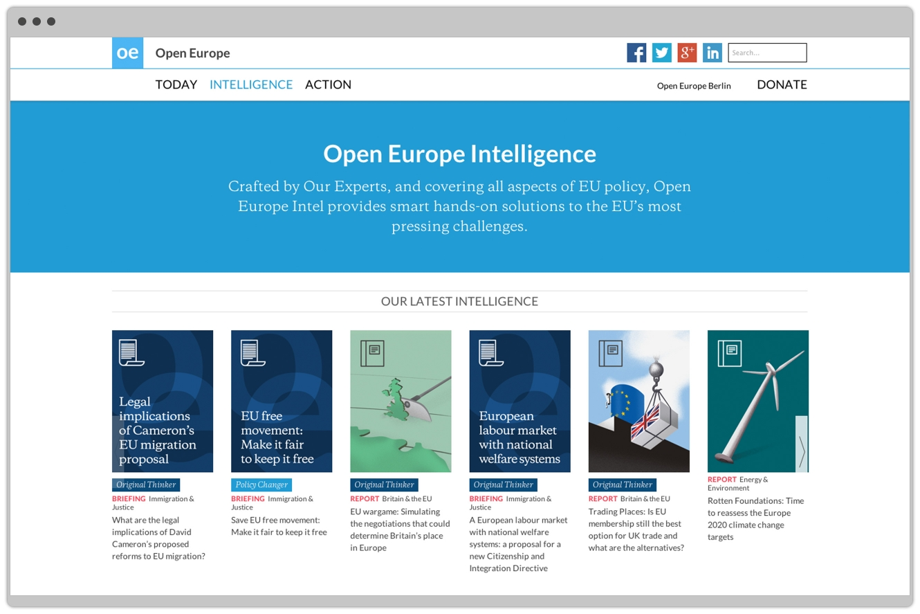 Open Europe Website Design